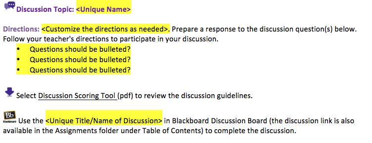 sample boilerplate for a writing team to create a discussion post