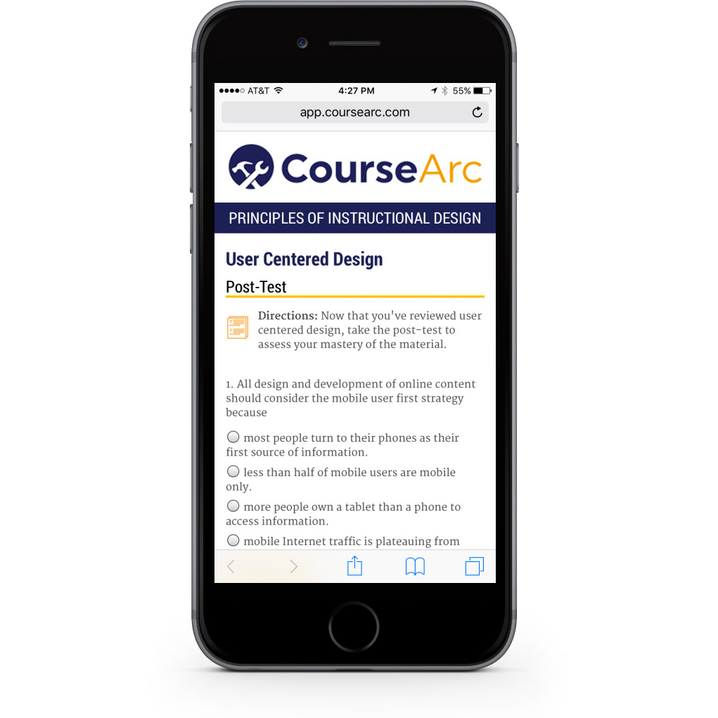 Screenshot of a mobile phone with CourseArc content