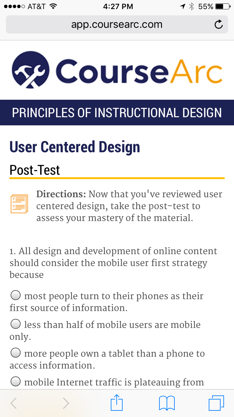 screenshot of CourseArc content on a mobile phone