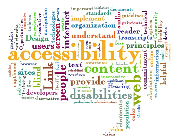 a tag cloud full of words such as: accessibility, content, provide, disabilities, people, developers, web