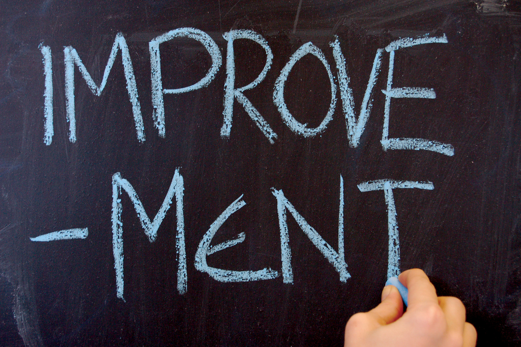 "Chalkboard with the word ""improvement"" written on it."