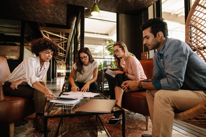 Team having a meeting in office