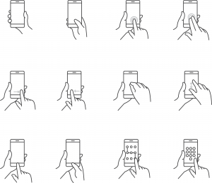different pointer gestures used on an mobile phone