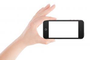 mobile phone being held sideways