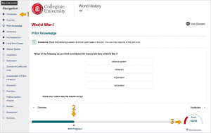 screenshot of student view of CourseArc progress embedded in LMS