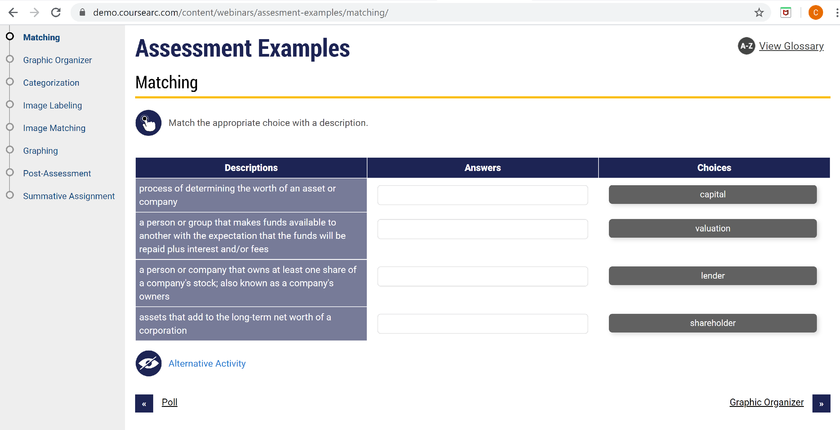 Example of assessment tool in Coursearc