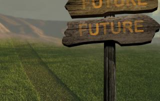 future signpost in green field