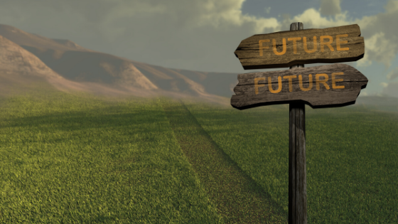 signpost with future in green field