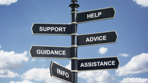 sign with support advice assistance guidance
