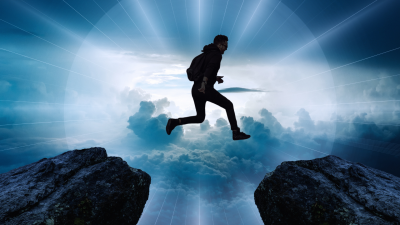 man jumping from one side to another
