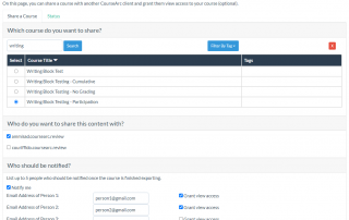 screenshot of sharing tool in CourseArc