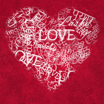 heart with love in different languages