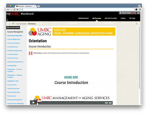 Screenshot of CourseArc content that is pulled in using LTI in Blackboard