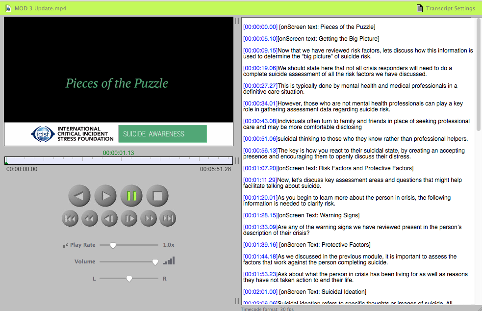 sample video being played in inqscribe with the transcript and timing on the right