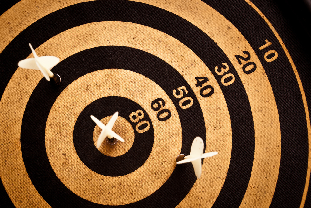 Dart board with a bullseye