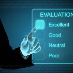 """Image of a person pointing at a smart screen that says """"Evaluation: Excellent, Good, Neutral, Poor"""""""